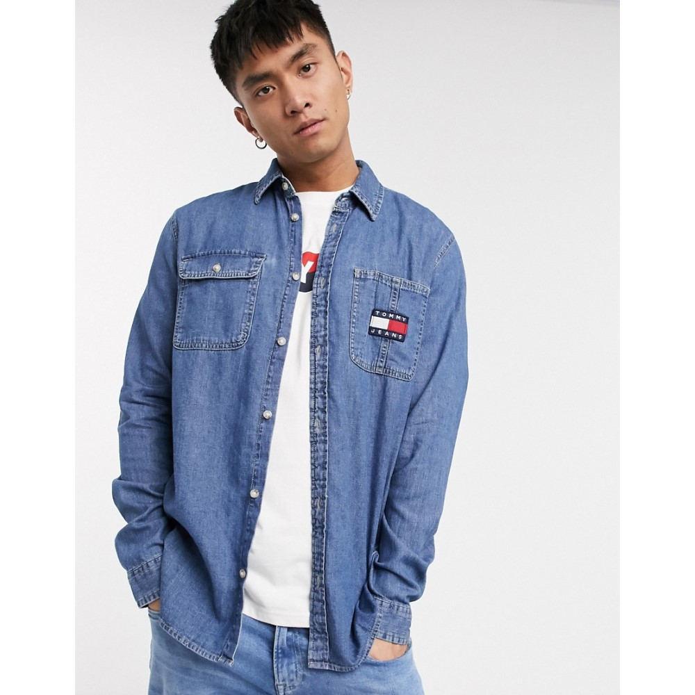 トミー ジーンズ Tommy Jeans メンズ シャツ デニム トップス【flag badge denim worker shirt comfort fit in mid wash】Mid indigo