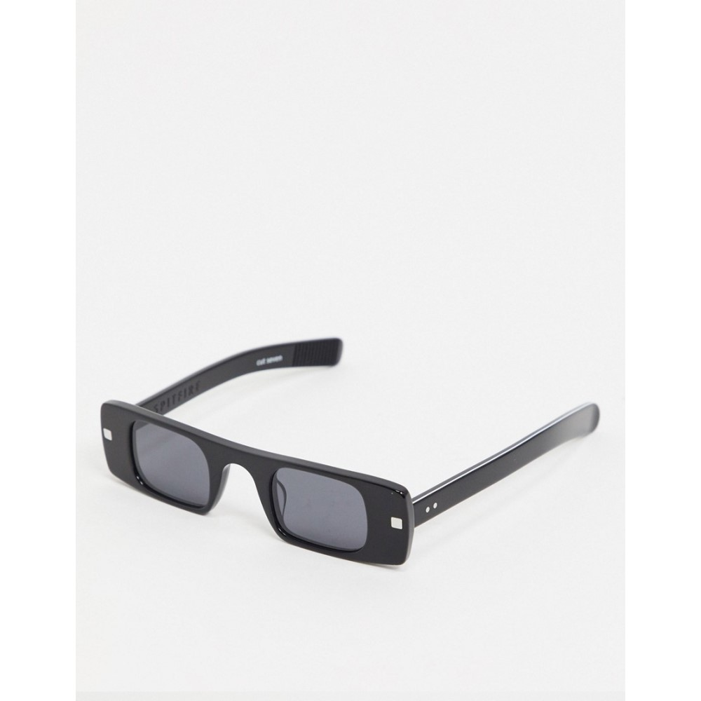 スピットファイア Spitfire レディース メガネ・サングラス スクエアフレーム【Cut Seven slim square sunglasses in black】Black