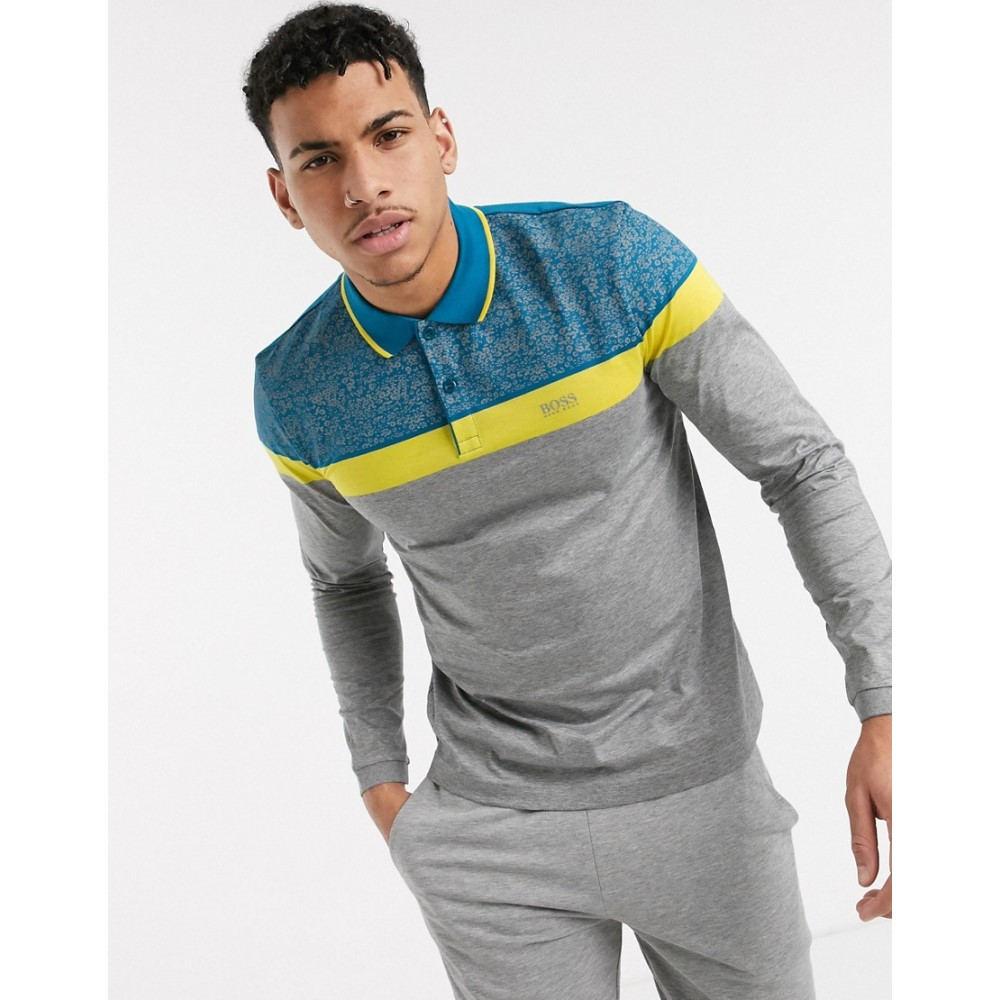 ヒューゴ ボス BOSS メンズ ポロシャツ トップス【Athleisure Pleesy long sleeve polo shirt】Grey