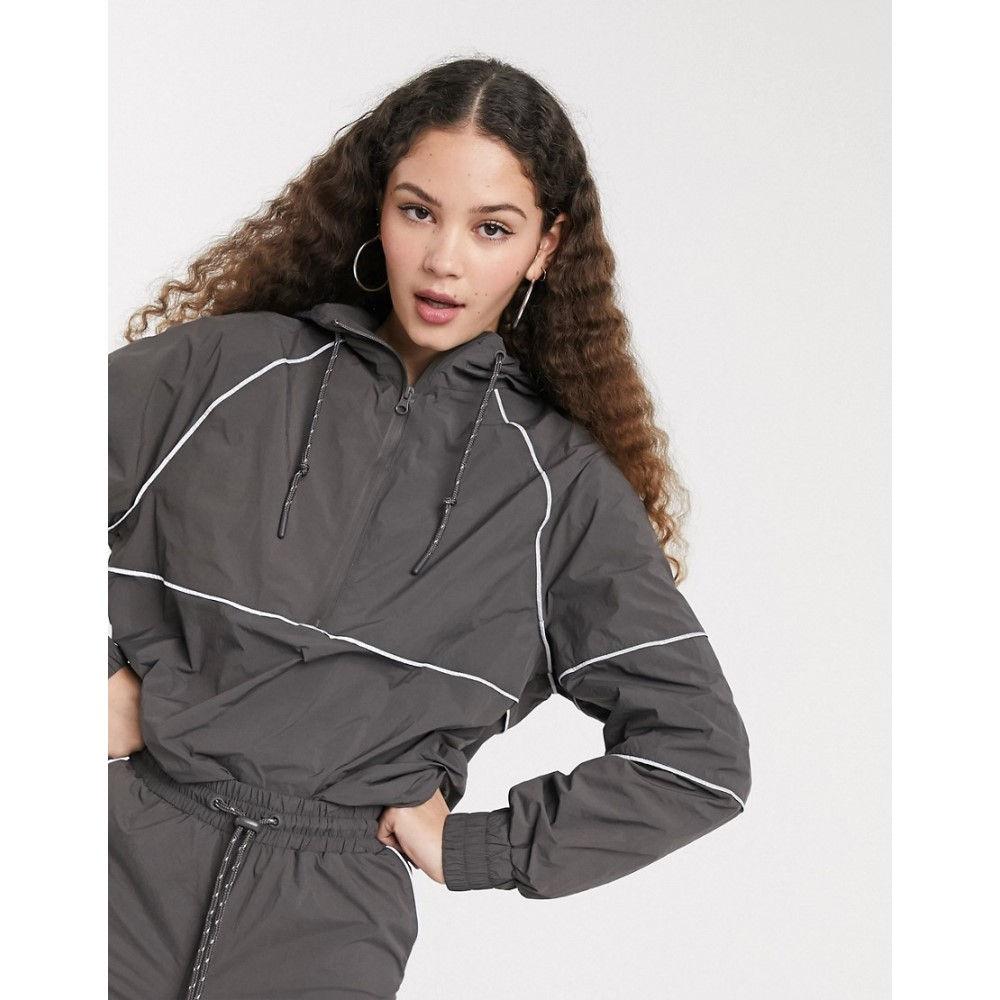モンキー Monki レディース ジャケット フード アウター【hooded jacket with contrast piping in grey】Grey