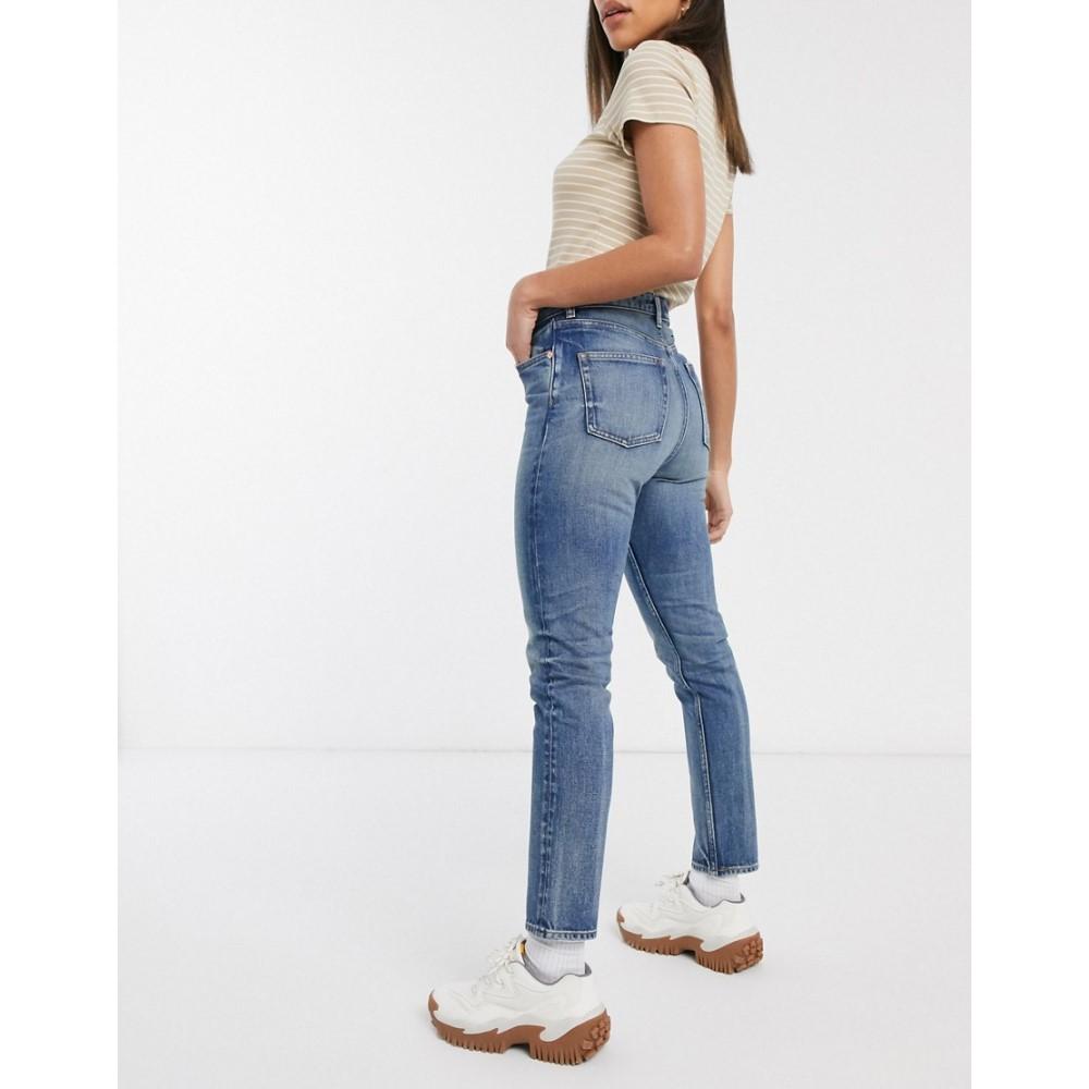 ジーンズ・デニム blue mom レディース Monki jeans wash】Dusty high with cotton LA ボトムス・パンツ【Kimomo waist in モンキー organic