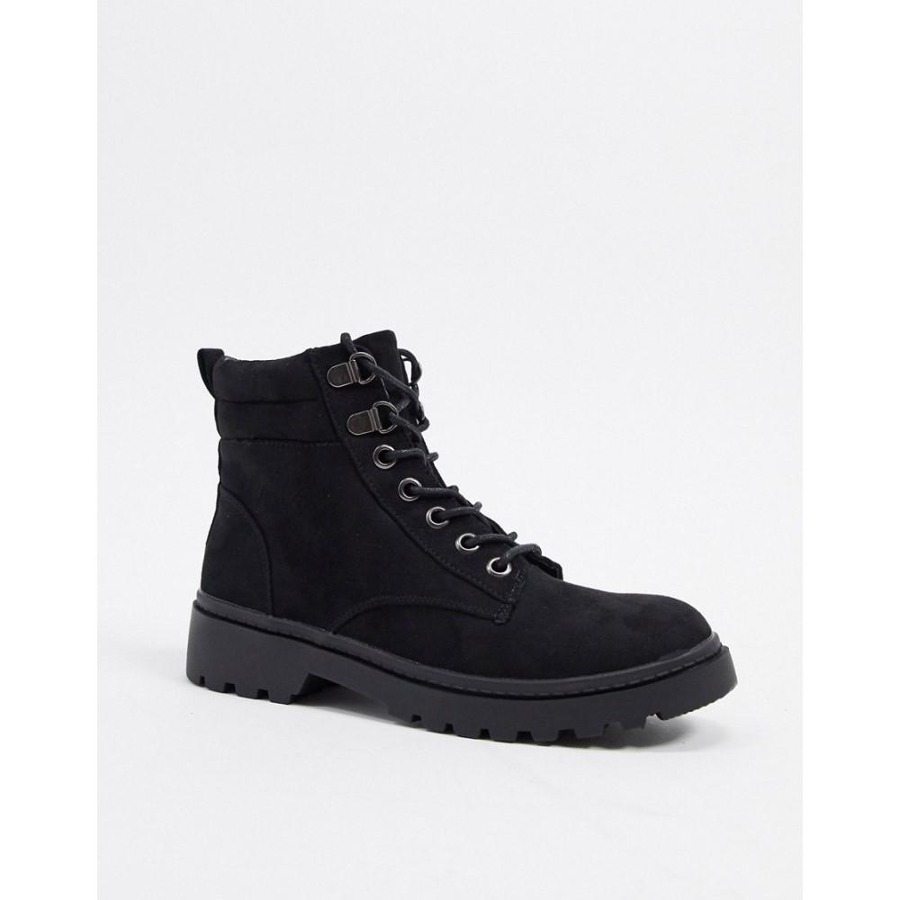 ニュールック New Look レディース ブーツ チャンキーヒール シューズ・靴【chunky flat hiker boots in black】Black