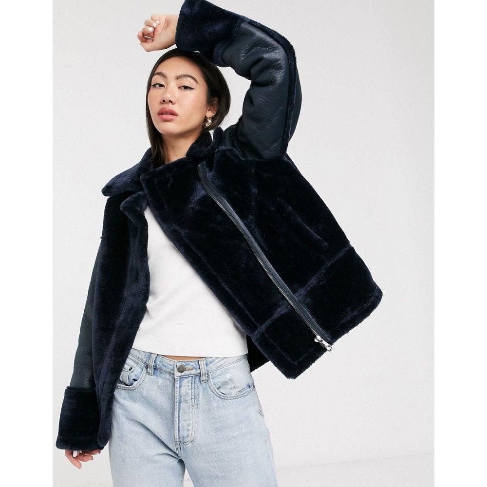 ホイッスルズ Whistles レディース ジャケット ライダース アウター【faux fur biker jacket in navy】Black