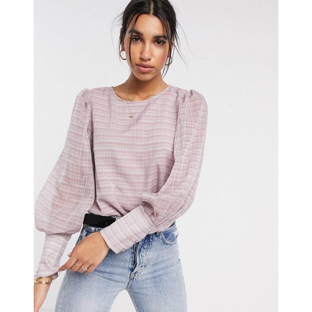 ワイ エー エス Y.A.S レディース ブラウス・シャツ トップス【sheer blouse in pink check】Pink