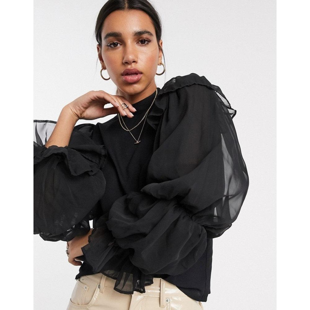 ワイ エー エス Y.A.S レディース ブラウス・シャツ トップス【blouse with exaggerated sleeve in black】Black