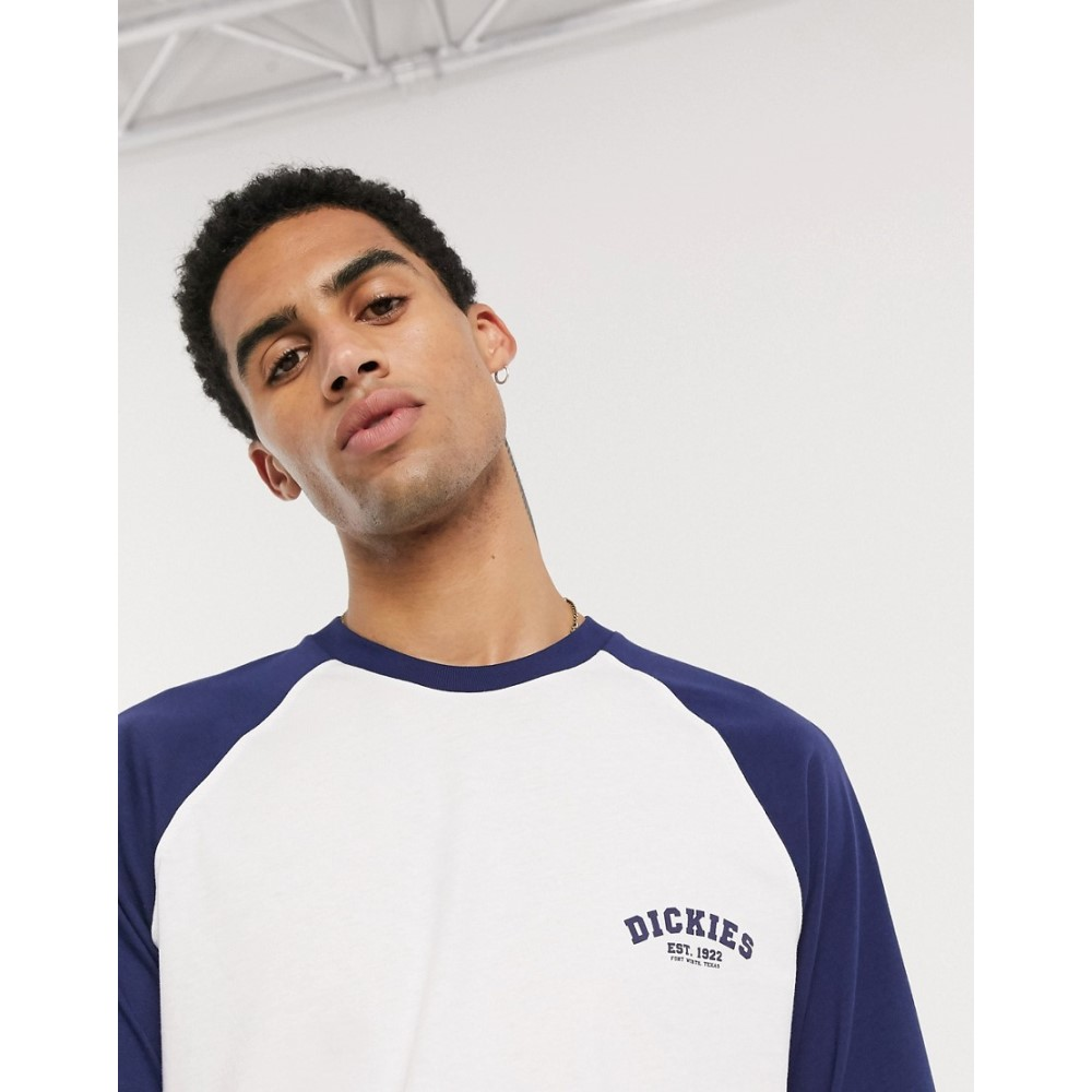ディッキーズ Dickies メンズ 長袖Tシャツ トップス【Baseball long sleeve t-shirt in white with navy sleeves】Deep blue