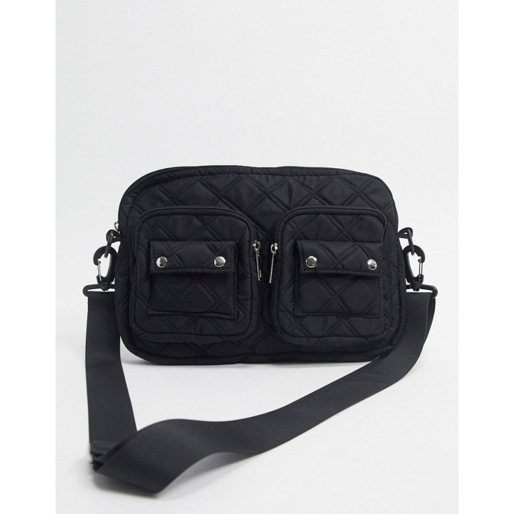 ピーシーズ Pieces レディース ショルダーバッグ バッグ【crossbody bag in black quilted nylon】Black