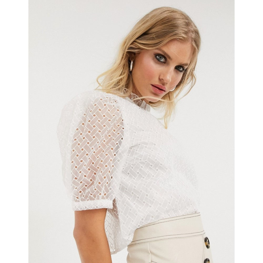 オンリー Only レディース ブラウス・シャツ トップス【high neck blouse with puff sleeves in white broderie】White