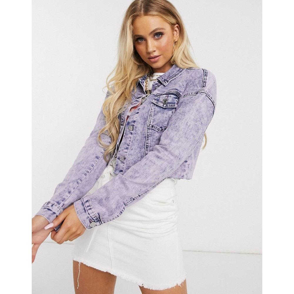 ミスガイデッド Missguided レディース ジャケット Gジャン アウター【cropped denim jacket in acid wash】Purple