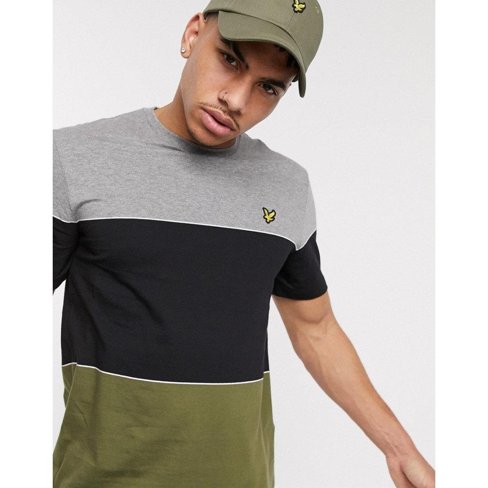ライル アンド スコット Lyle & Scott メンズ Tシャツ トップス【wide multi stripe t-shirt in green/ black】Khaki