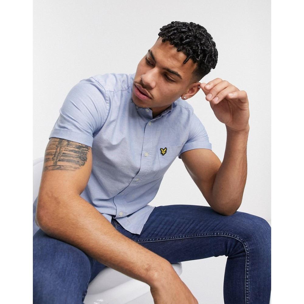 ライル アンド スコット Lyle & Scott メンズ 半袖シャツ トップス【short sleeve oxford shirt in light blue】Light blue