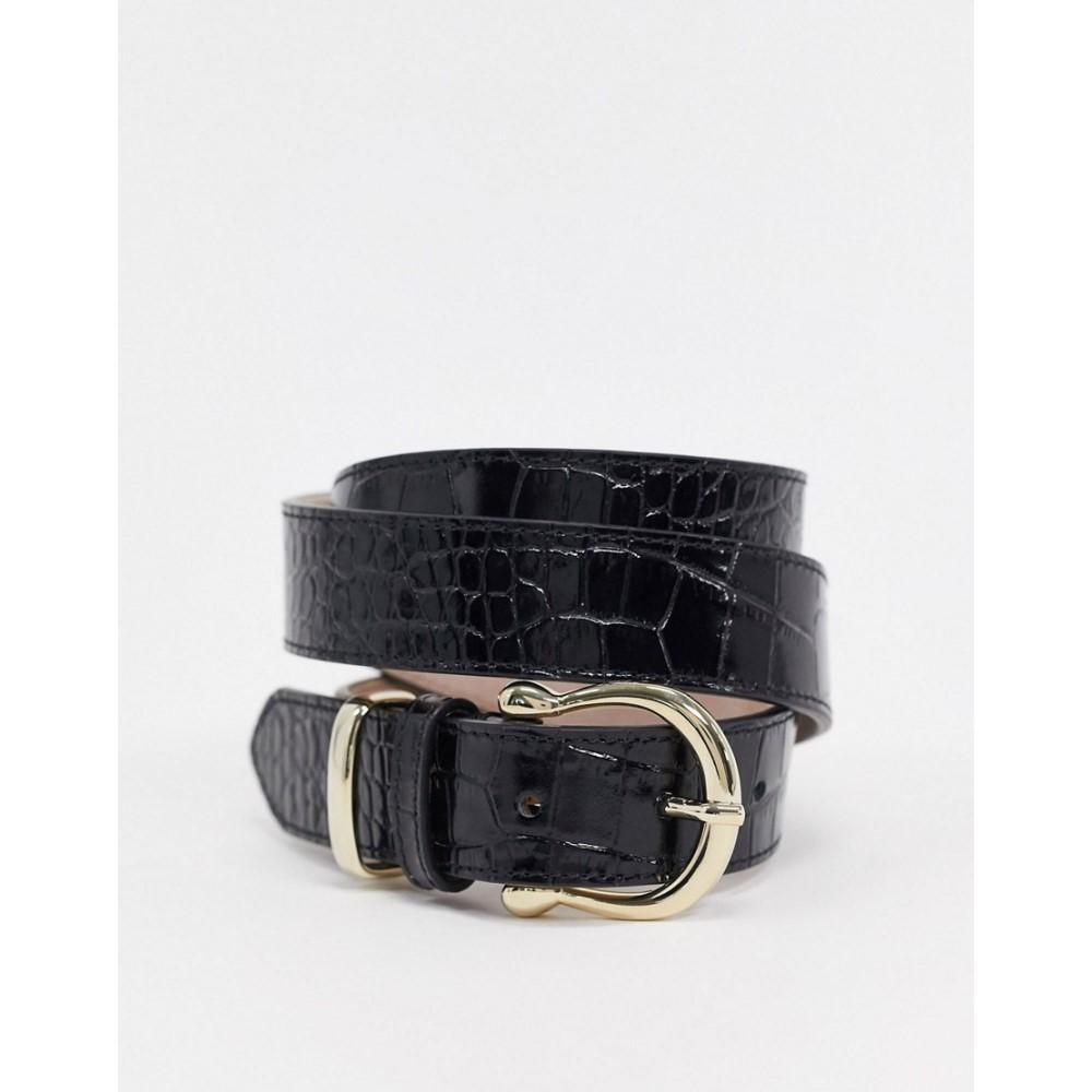 アンドアザーストーリーズ & Other Stories レディース ベルト 【croc effect leather belt in black】Black croco