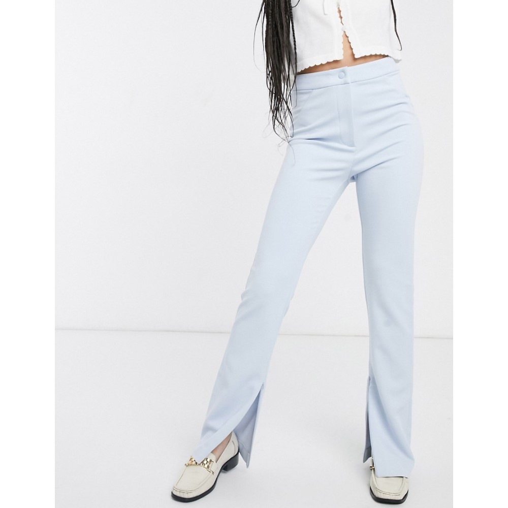 ウィークデイ Weekday レディース ボトムス・パンツ 【straight leg split hem trousers in light blue】Light blue