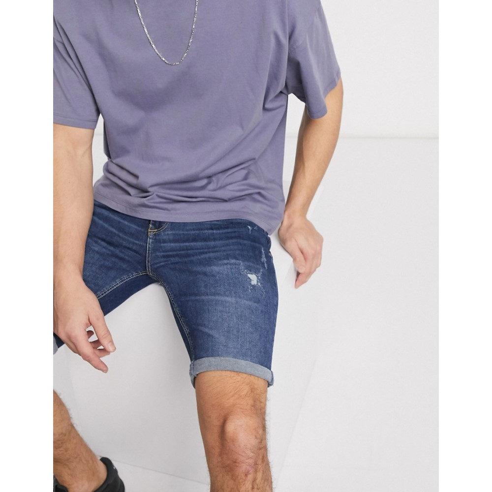 リバーアイランド River Island メンズ ショートパンツ デニム ボトムス・パンツ【skinny denim shorts in mid blue】Blue