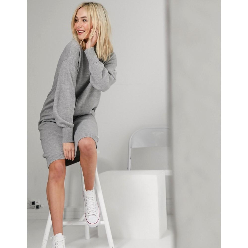 エイソス ASOS DESIGN レディース ワンピース ミドル丈 ワンピース・ドレス【fluffy midi dress with seam detail】Grey