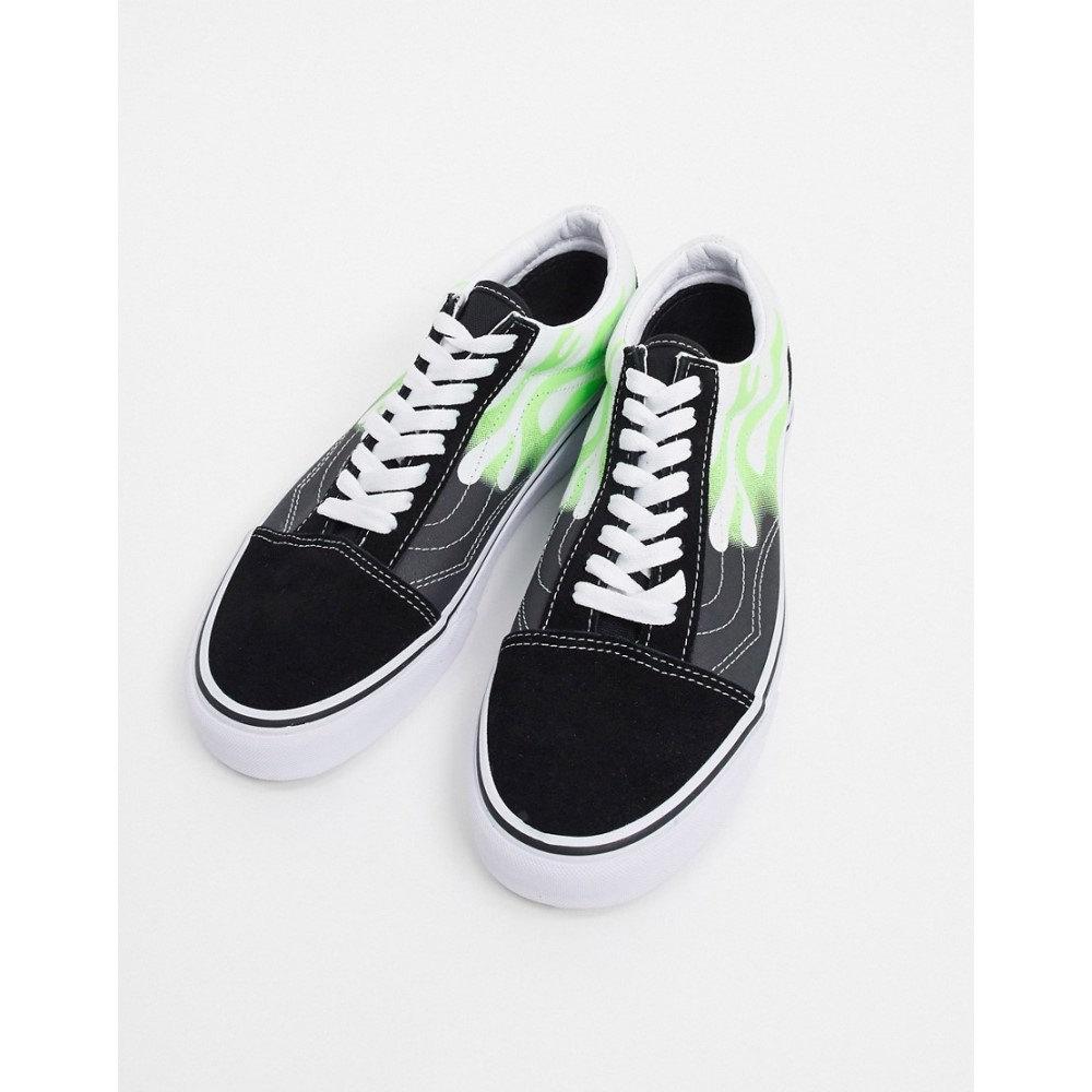 ヴァンズ Vans メンズ フィットネス・トレーニング スニーカー シューズ・靴【Old Skool flame trainer in black/green】Flame blacktrue w