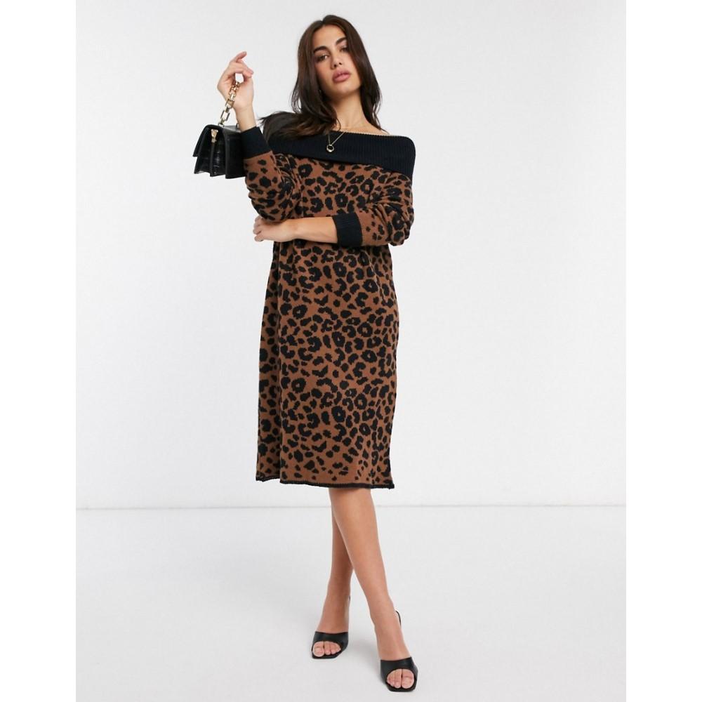 リカリッシュ Liquorish レディース ワンピース ミドル丈 ワンピース・ドレス【off shoulder midi jumper dress in leopard print】Animal