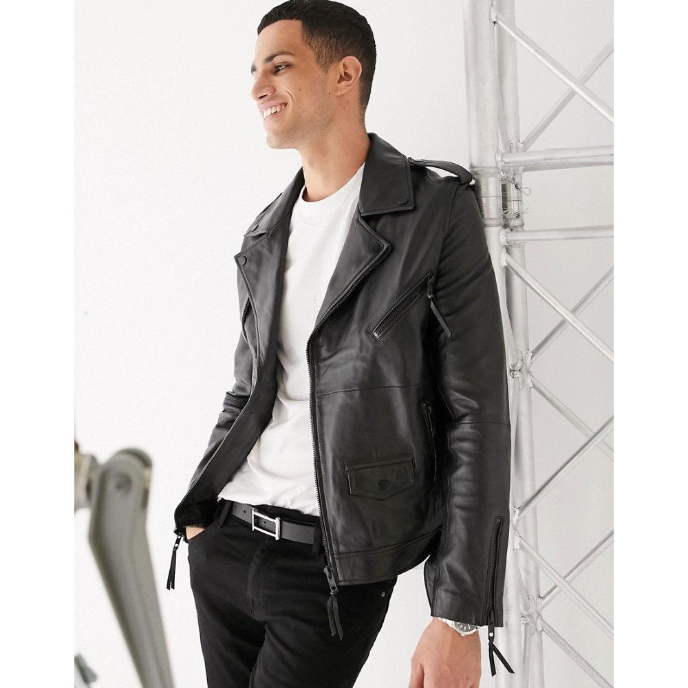 バーニーズ オリジナル Barneys Originals メンズ レザージャケット ライダース アウター【real leather zipped biker jacket with belt】Black