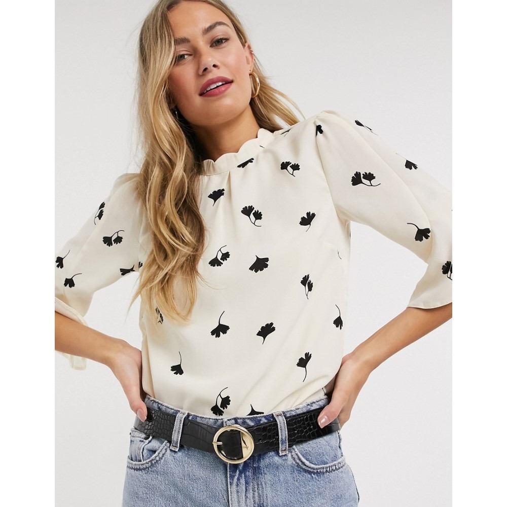 オアシス Oasis レディース ブラウス・シャツ トップス【scallop neck leaf print blouse in white】Ivory
