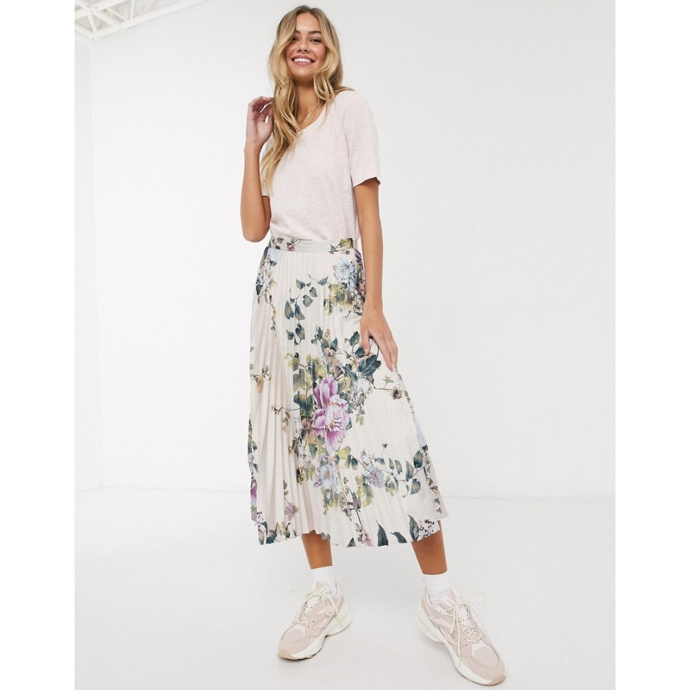 オアシス Oasis レディース ひざ丈スカート スカート【floral print satin midi skirt in cream】Multi natural
