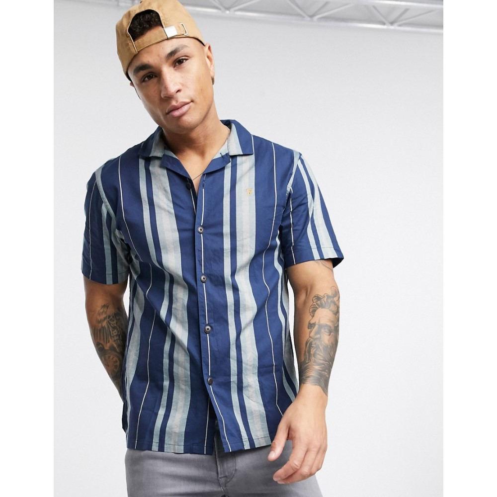 ファーラー Farah メンズ 半袖シャツ トップス【Laredo short sleeve stripe shirt in navy】Navy