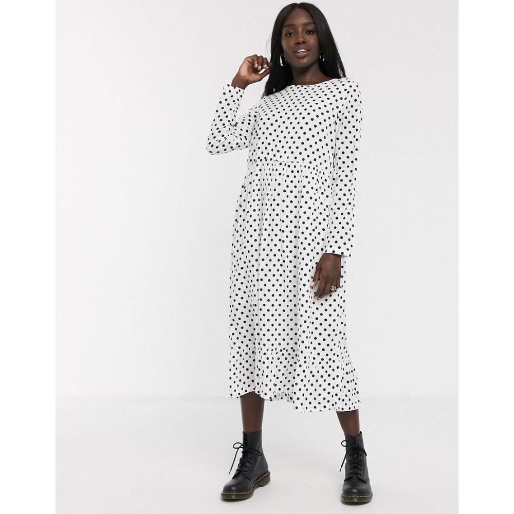 デイジーストリート Daisy Street レディース ワンピース ワンピース・ドレス【midaxi smock dress in spot print】White black spot