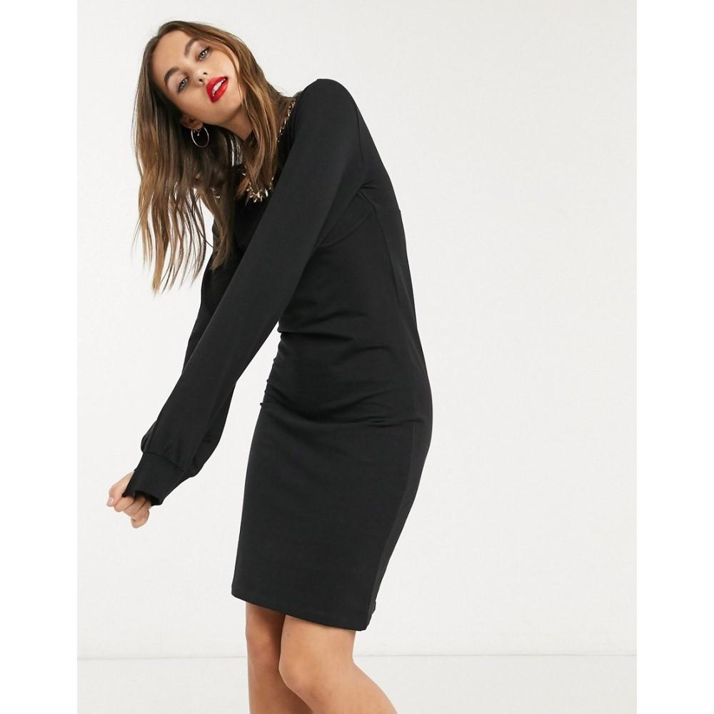 ノイズィーメイ Noisy May レディース ワンピース ワンピース・ドレス【corset sweat dress in black】Black