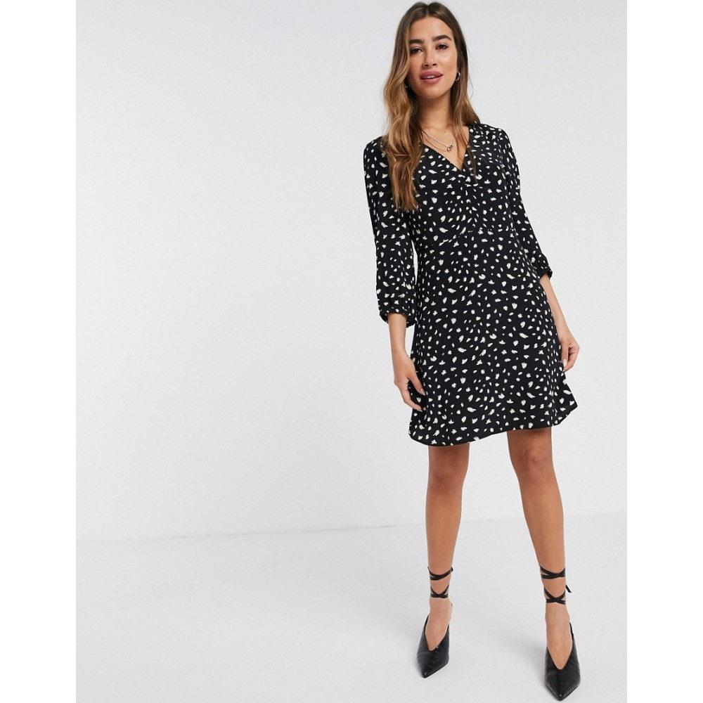 マンゴ Mango レディース ワンピース ミニ丈 ワンピース・ドレス【mini dress in abstract spot print】Black
