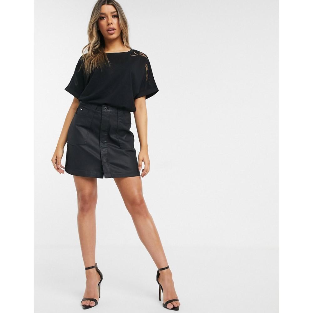 ジースター ロゥ G-Star レディース ミニスカート スカート【coated mini skirt in black】Black