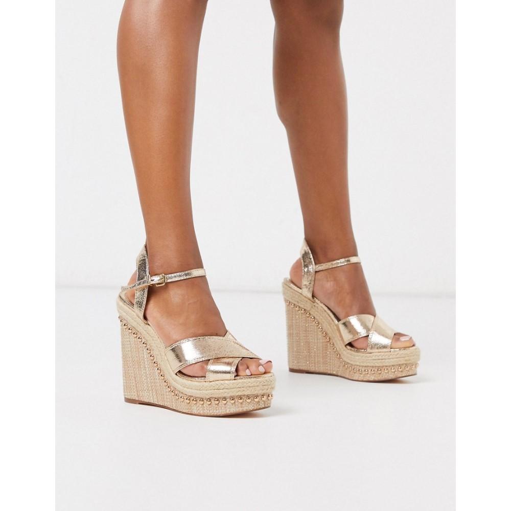 リバーアイランド River Island レディース サンダル・ミュール ウェッジソール シューズ・靴【strappy heeled wedge sandals in gold】Gold