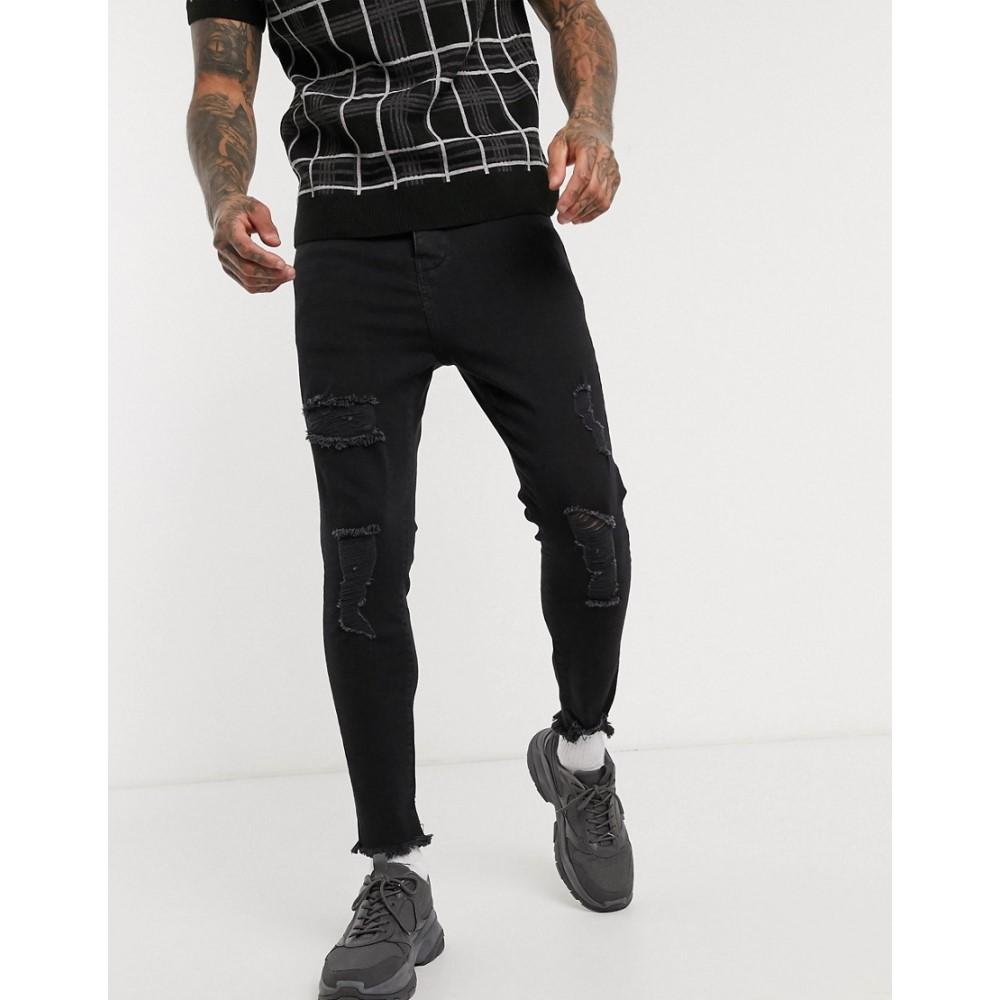 シックシルク SikSilk メンズ ジーンズ・デニム ボトムス・パンツ【cropped skinny jean with raw hem and rips in black】Black