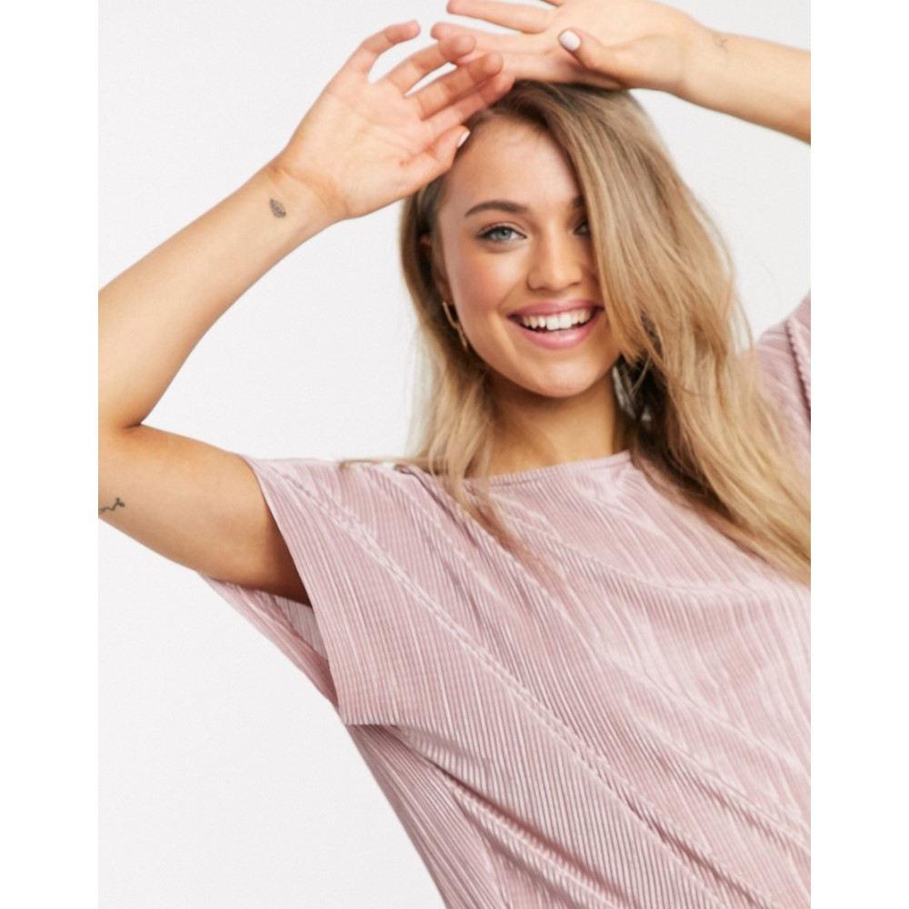 エイソス ASOS DESIGN レディース Tシャツ トップス plisse t shirt in dusty pink PinkodQxhBtsrC