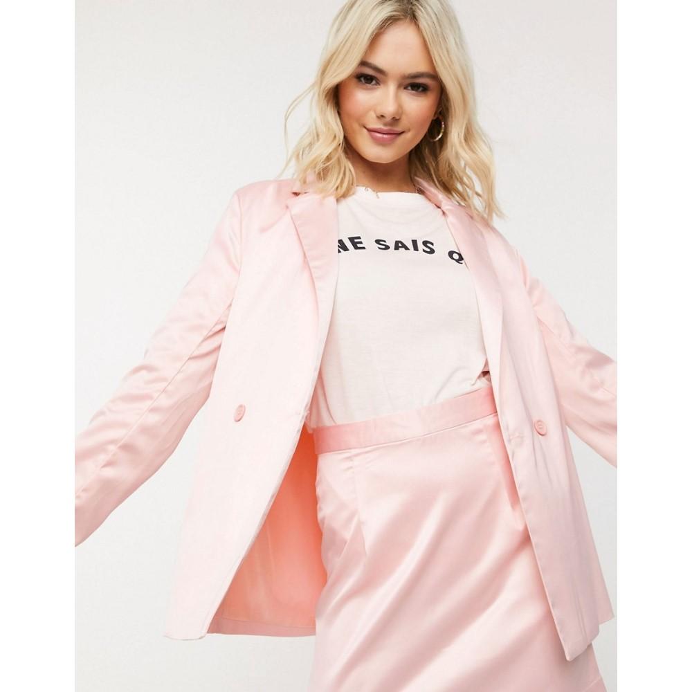 ハートブレーク Heartbreak レディース スーツ・ジャケット アウター【satin double breasted blazer in pink】Nude