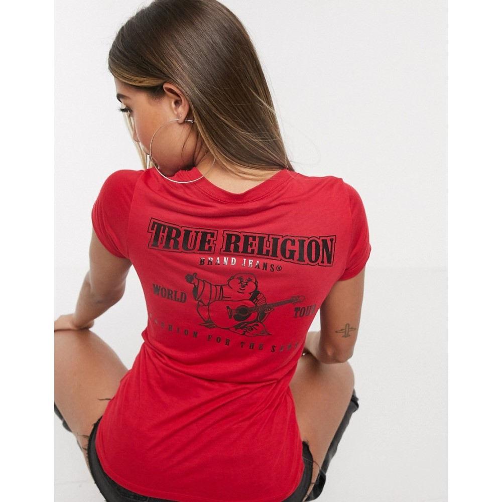 トゥルー レリジョン True Religion レディース Tシャツ Vネック トップス【v neck back logo t-shirt in red】Red
