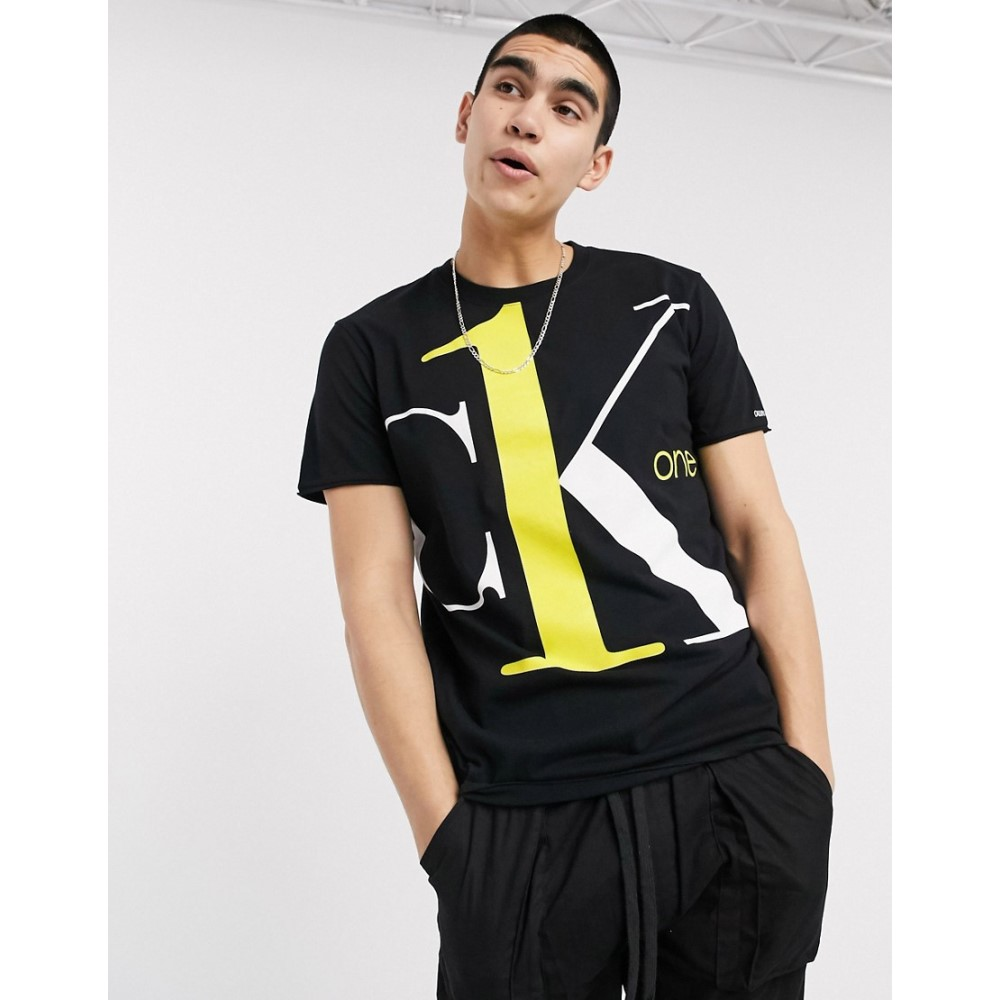 カルバンクライン Calvin Klein Jeans メンズ Tシャツ トップス【CK1 Capsule large contrast logo t-shirt in black】Black
