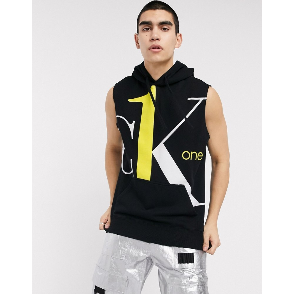 カルバンクライン Calvin Klein Jeans メンズ ノースリーブ トップス【CK1 Capsule large contrast logo sleeveless sweatshirt in black】Black