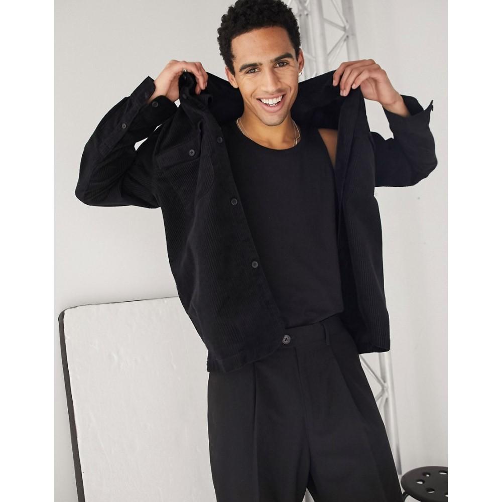ウィークデイ Weekday メンズ シャツ オーバーシャツ トップス【Dalton cord overshirt in black】Black