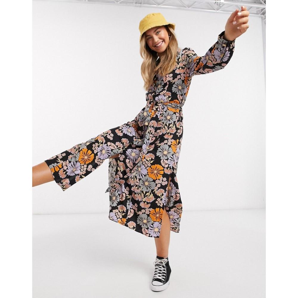 モンキー Monki レディース ワンピース シャツワンピース ワンピース・ドレス【Venera flower print shirt dress in multi】Multi floral