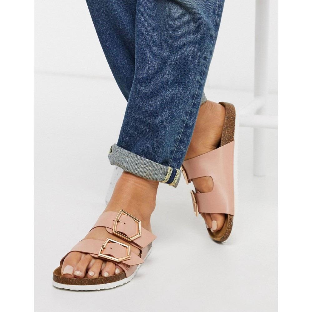 ニュールック New Look レディース サンダル・ミュール フラット シューズ・靴【double strap flat sandals in pink】Pink