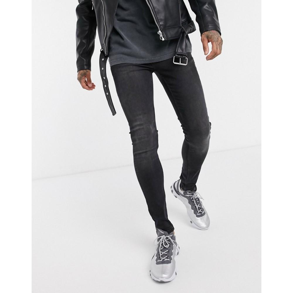 トップマン Topman メンズ ジーンズ・デニム ボトムス・パンツ【organic spray on jeans in washed black】Washed black