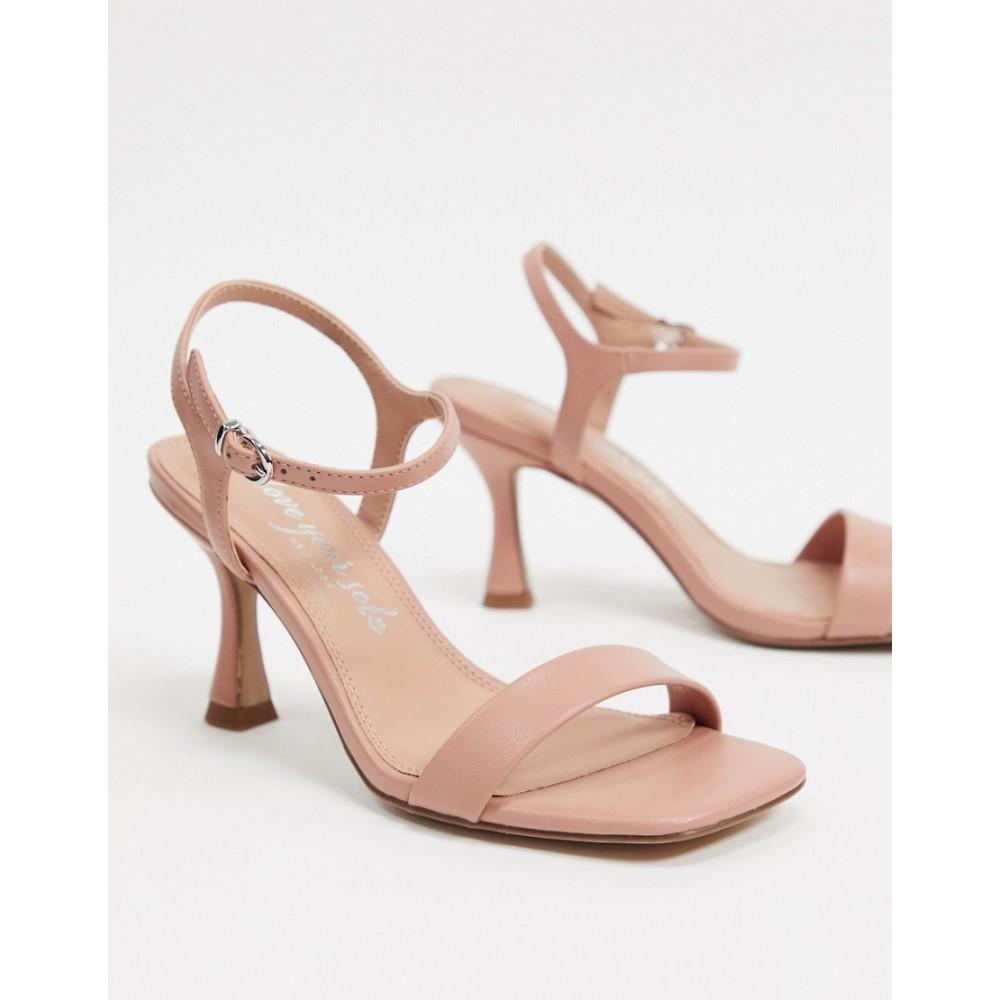 ニュールック New Look レディース サンダル・ミュール スクエアトゥ シューズ・靴【square toe flare stilettos in mid pink】Oatmeal