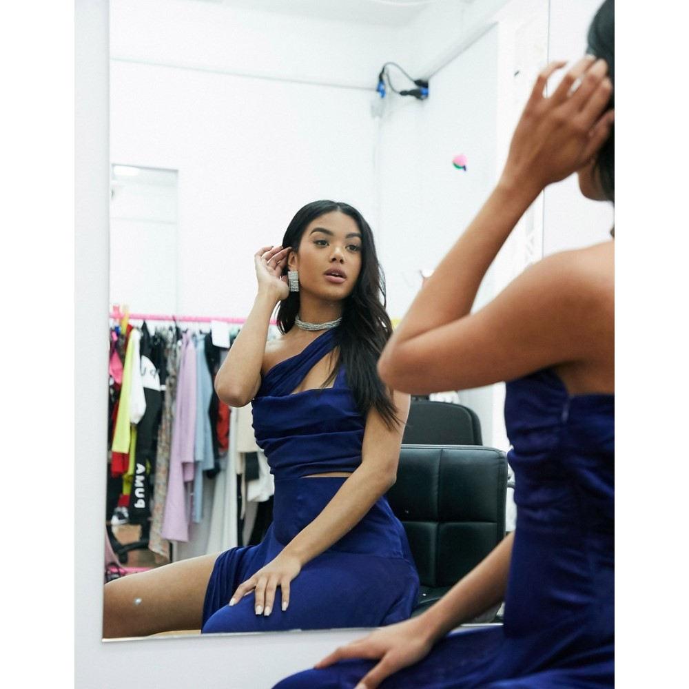 ヤウラ Yaura レディース ワンピース ワンピース・ドレス【luxe satin one shoulder maxi dress with cut out in navy】Blue