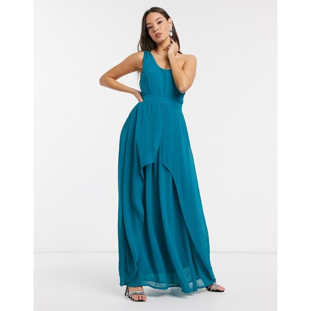 リトル ミストレス Little Mistress レディース ワンピース ワンピース・ドレス【Libra one shoulder maxi dress in blue】Blue jewel