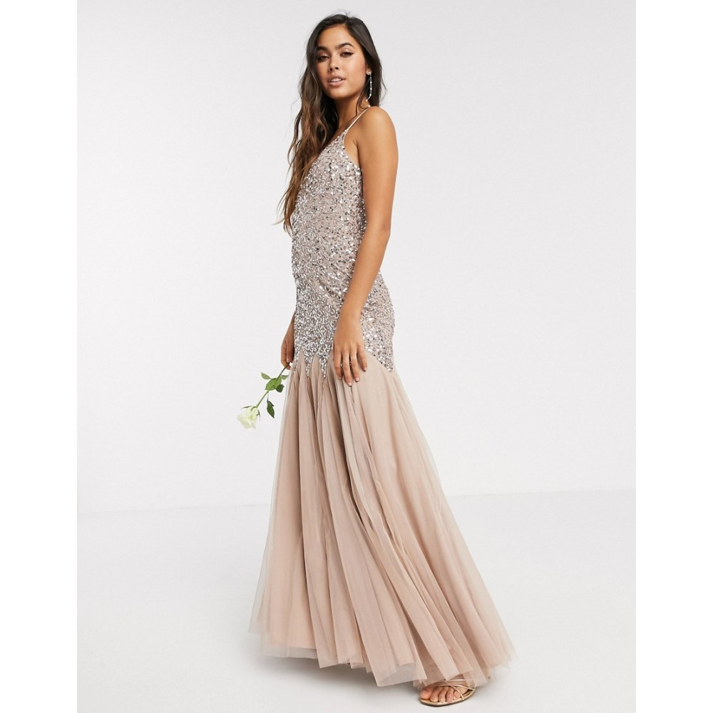 マヤ Maya レディース ワンピース マキシ丈 ワンピース・ドレス【strappy delicate sequin fishtail maxi dress in taupe blush】Taupe blush