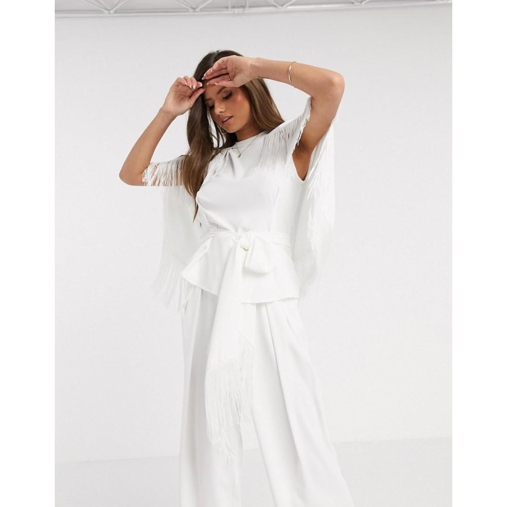 リバーアイランド River Island レディース トップス 【fringed belted cape co-ord top in white】White