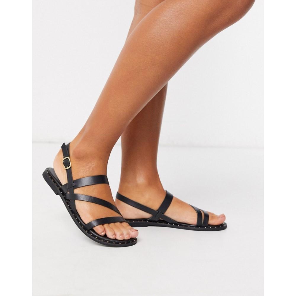 ウェアハウス Warehouse レディース サンダル・ミュール シューズ・靴【mutlistrap studded leather sandals in black】Black