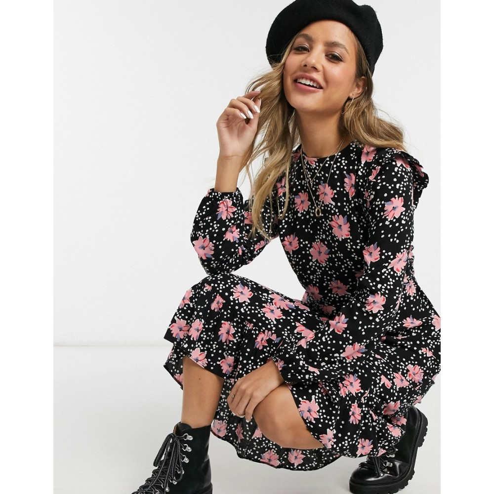 ニュールック New Look レディース ワンピース ワンピース・ドレス【frill detail midi dress in black floral print】Black pattern