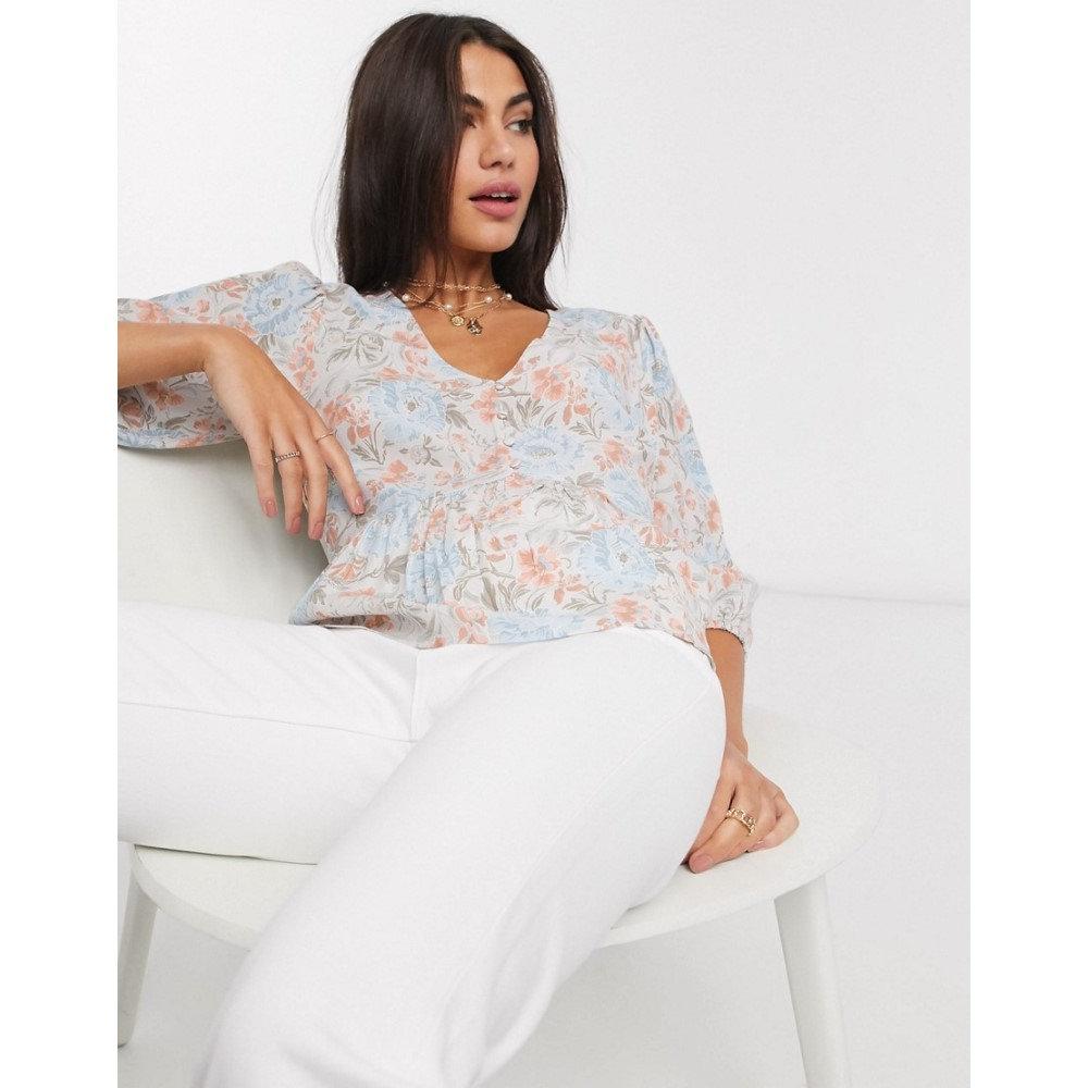 ウェアハウス Warehouse レディース ブラウス・シャツ トップス【ornate floral print button front blouse in blue】Multi