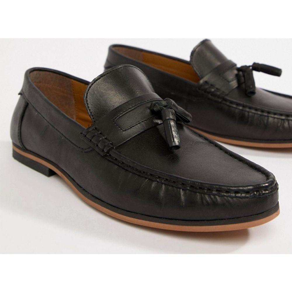 エイソス ASOS DESIGN メンズ ローファー シューズ・靴【loafers in black leather with tassel】Black