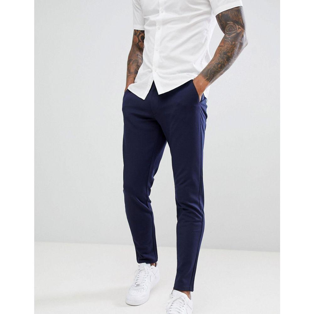 オンリーアンドサンズ Only & Sons メンズ スキニー・スリム ボトムス・パンツ【slim tapered fit trousers in navy】Dark navy